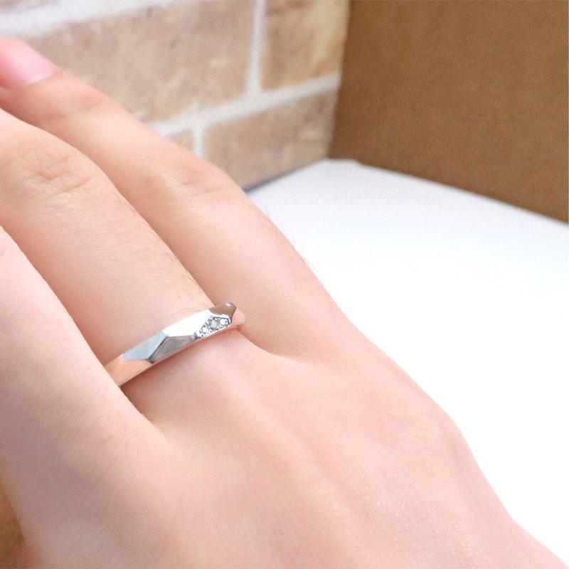 美好相依 菱形切面小鑽戒 女款-訂製戒指 刻字 純銀戒指(單只)
