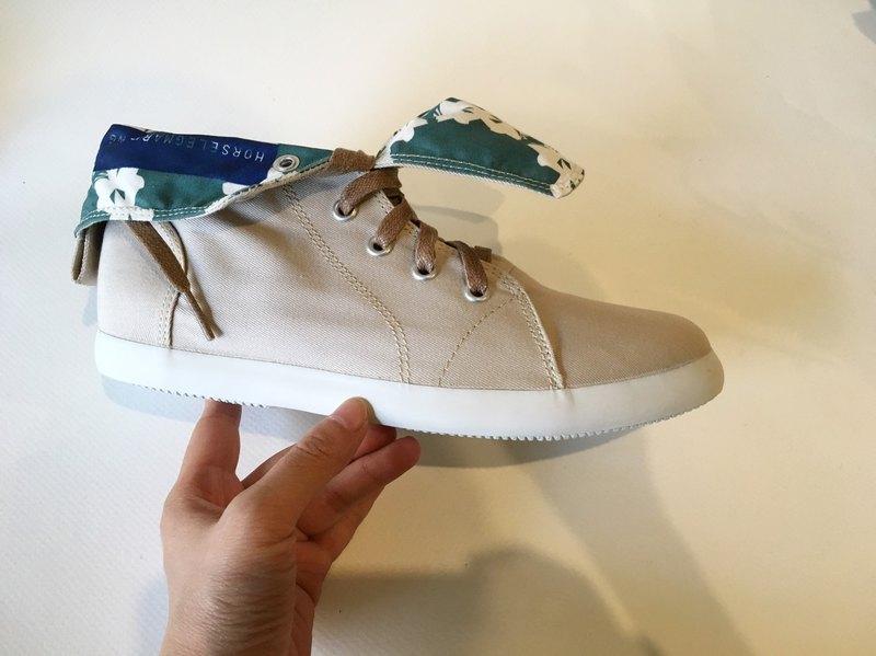 圓形蝴蝶與花款 No2 / 靴型帆布鞋 / 短靴