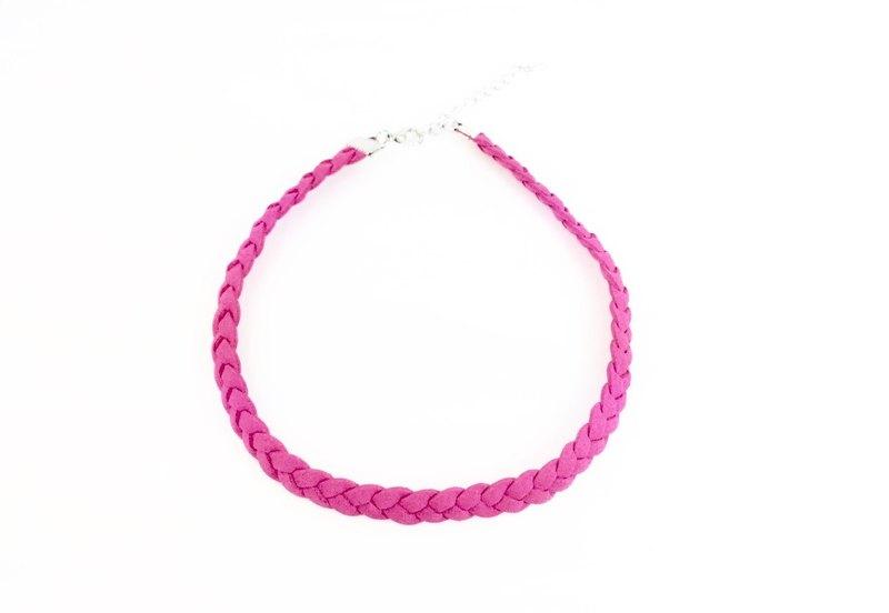 桃粉色-麻花麂皮編繩頸鍊