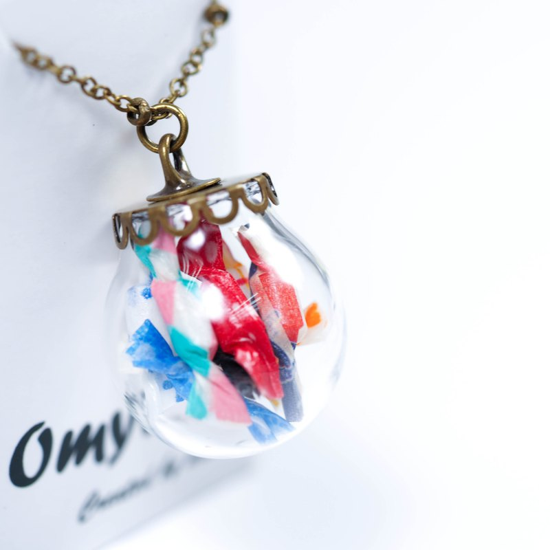 愛家作- OMYWAY夢幻扭扭糖果甜品透明玻璃球復古青古銅色頸鏈 2cm