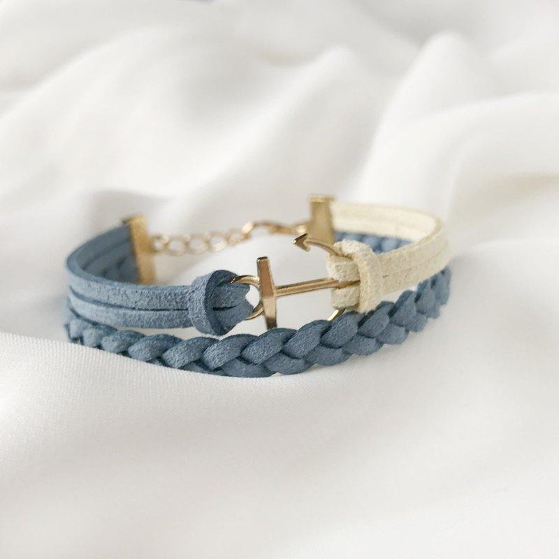 船錨 手工製作 雙手環 淡金色系列-嫩黃 海洋藍 限量