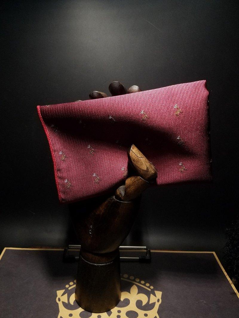 酒紅色小鹿刺繡口袋巾新郎結婚西裝手帕絲巾
