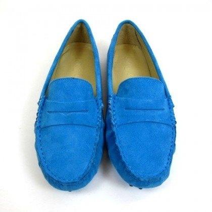 堡貝王真皮手工鞋(女)【磨砂/豆底/湖藍】
