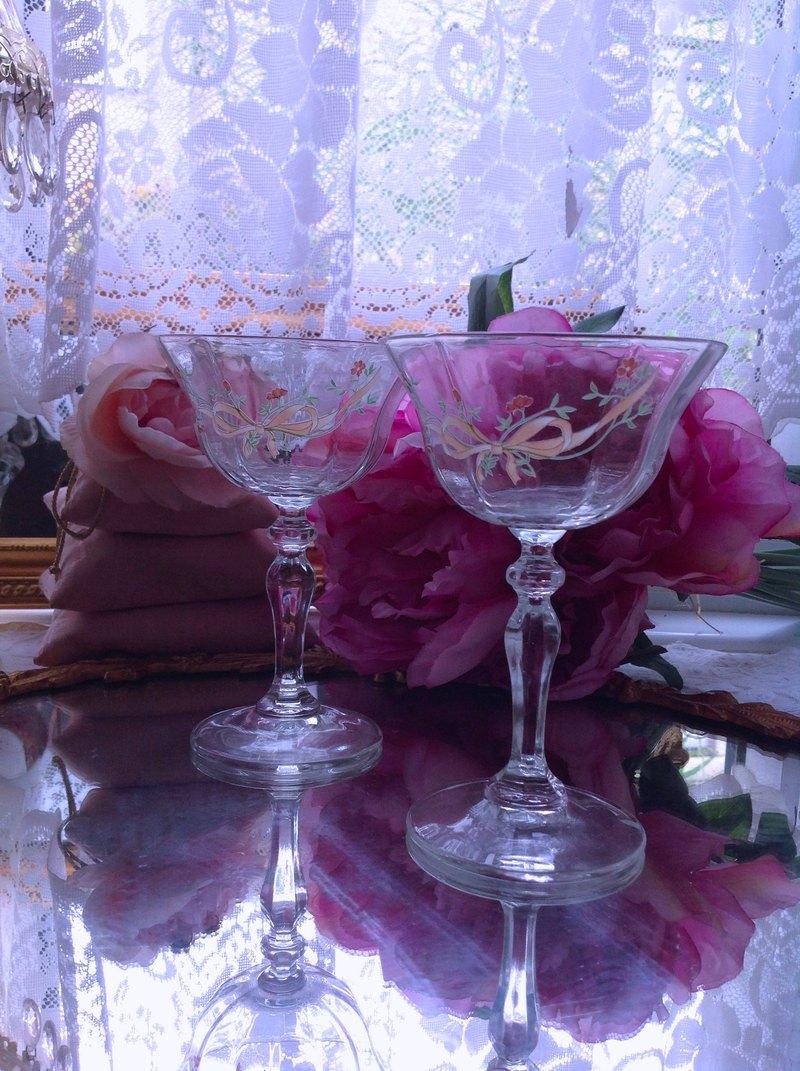 法國製手工切割水晶雕花蝴蝶結紅白酒杯果汁杯點心杯香檳杯一對