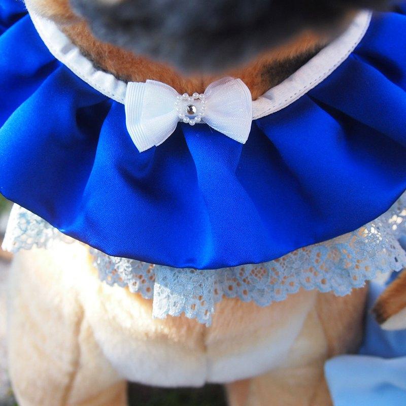 婚禮寵物蕾絲領巾-藍色
