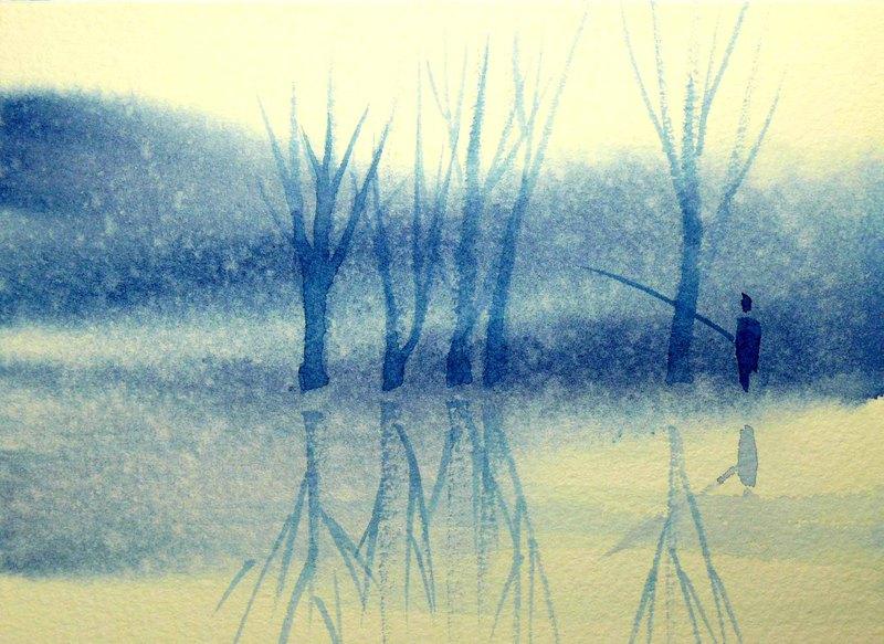 療癒系樹林系列551-水彩手繪限量版明信片/聖誕卡