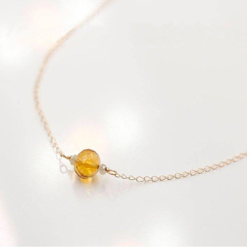 黃水晶和精緻的黃色鑽石項鍊14k純金11月誕生石