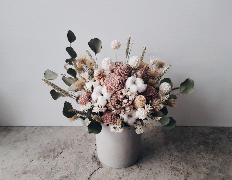 裸粉色系乾燥水泥盆花│萬用祝賀花禮│居家裝飾│