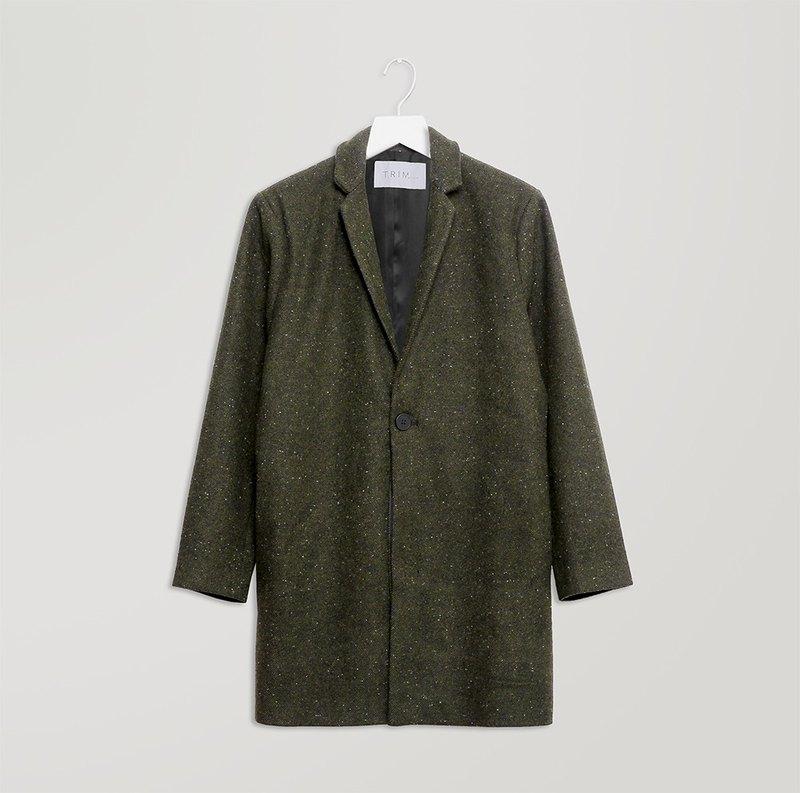 綠色花點大衣