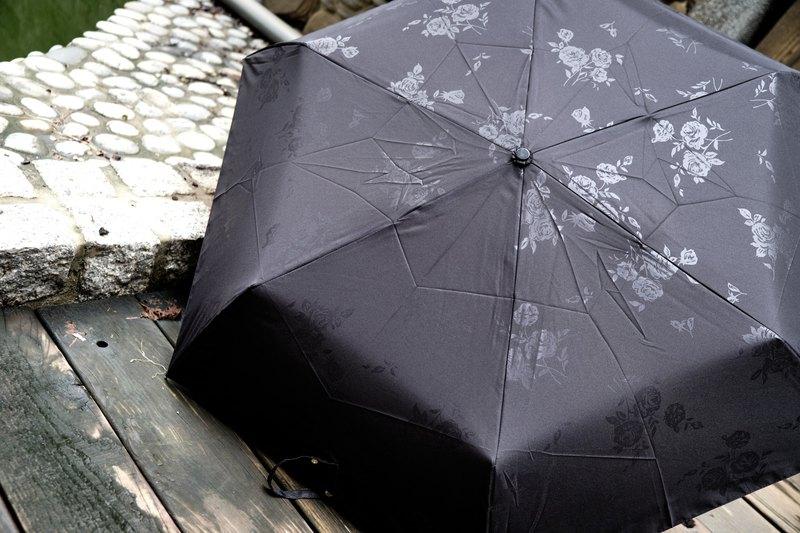 UrbaneUmbrella 輕量日系壓花玫瑰金彎頭折傘-Black & White