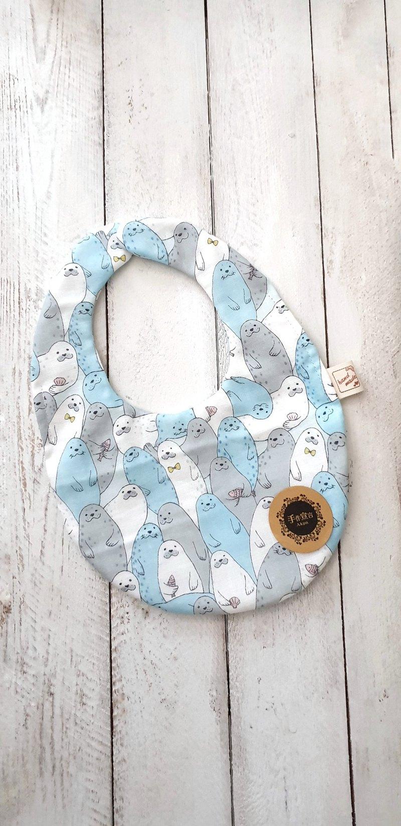 小海豹-藍-共三色-八層紗100%cotton蛋型圍兜.口水巾