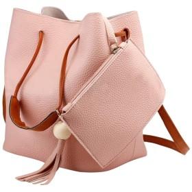 レディースフリンジフェイクスエードショルダーメッセンジャーショルダーバッグハンドバッグ財布ブラックブラウンホワイトのトップ、ピンク