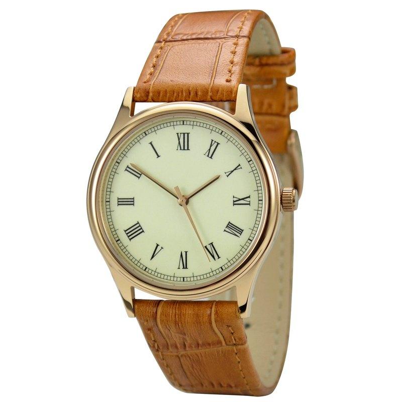 逆時針手錶 羅馬字 玫瑰金殼 復古 中性設計 全球免運