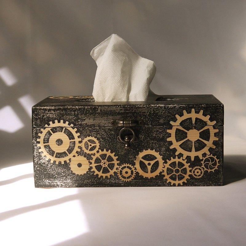 手工原木面紙盒#齒輪造型 工業風 仿鍛造 面紙盒