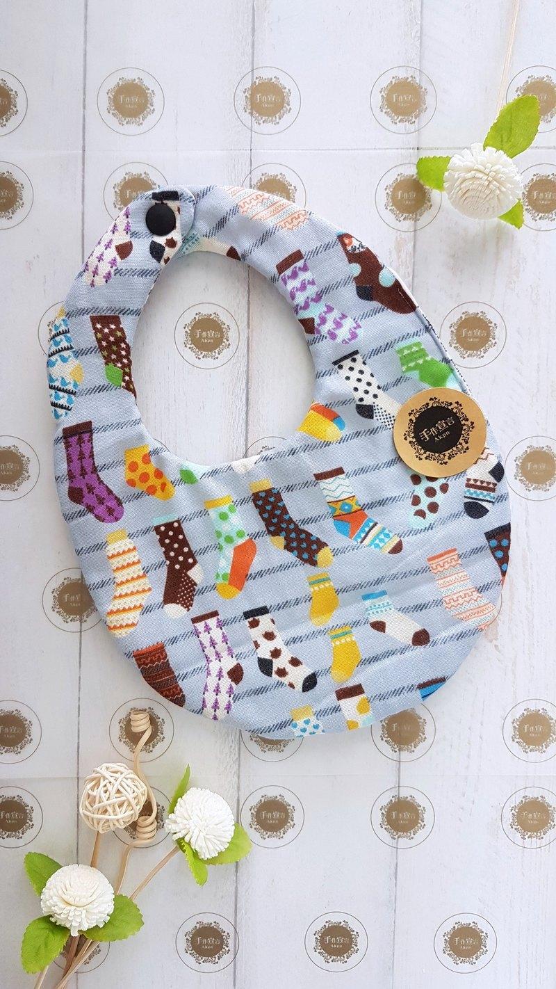 (繽紛襪-灰)八重紗100%cotton雙面蛋型圍兜