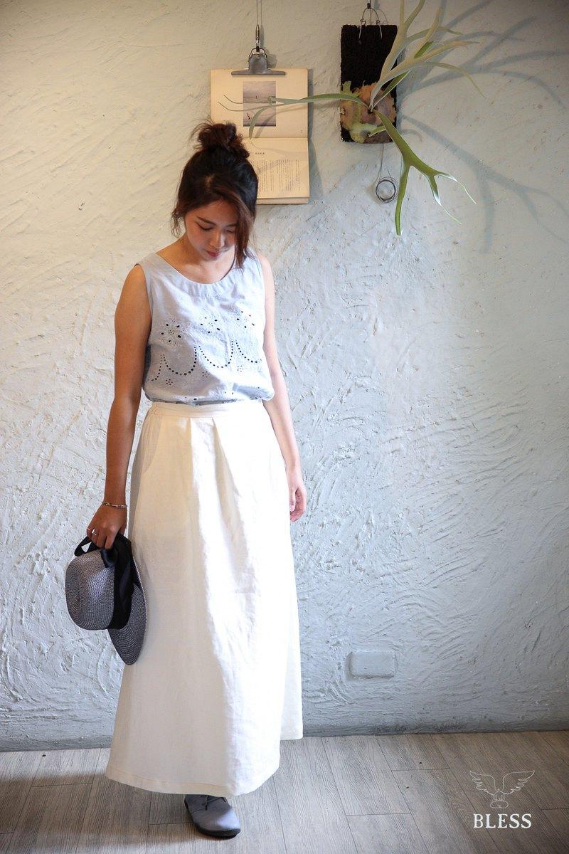 天然純亞麻布料手作長裙
