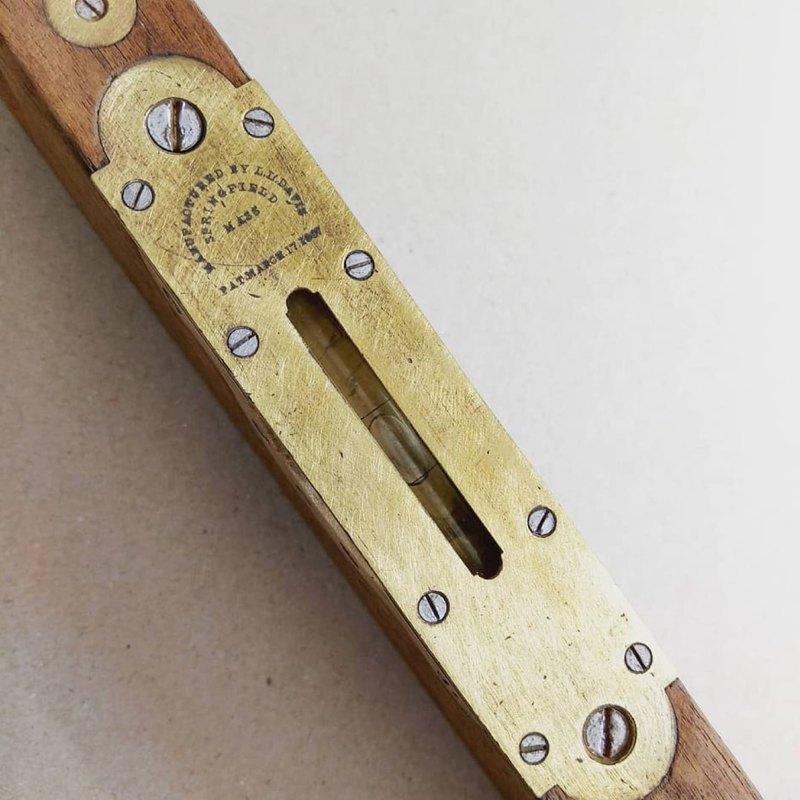 美國1887年 古董水平測量儀 木質/銅質手工具