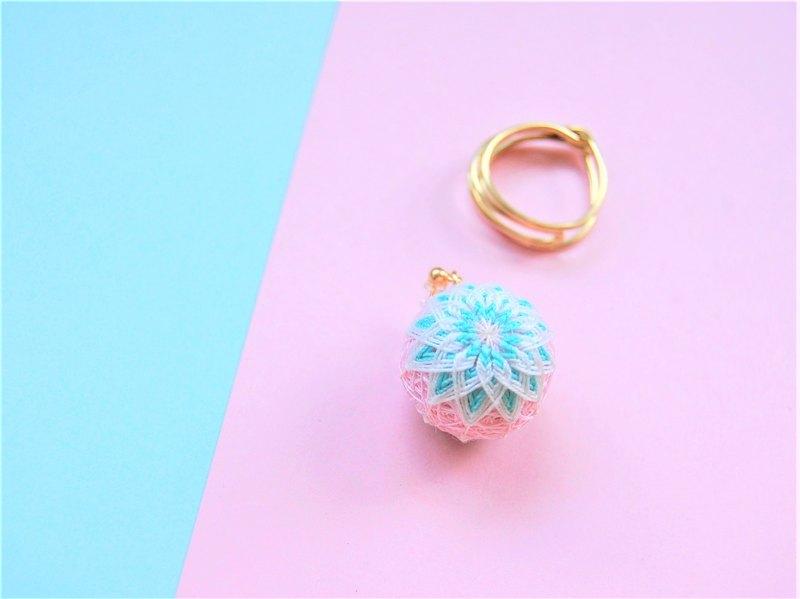 tachibanaya 日本的傳統工藝 手鞠球 刺繡 耳環 幾何 粉紅 青綠