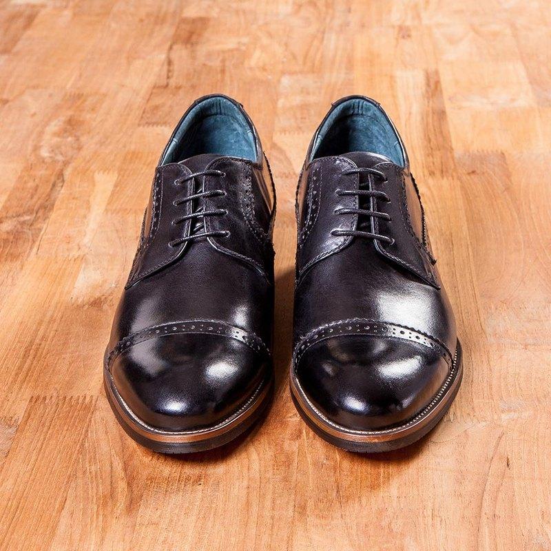 Vanger紳高.橫紋雕花徳比增高鞋 Va251黑