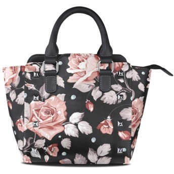 黒い花クロスボディバッグレザーハンドバッグサッチェル財布メイクアップトートバッグ女性用女の子