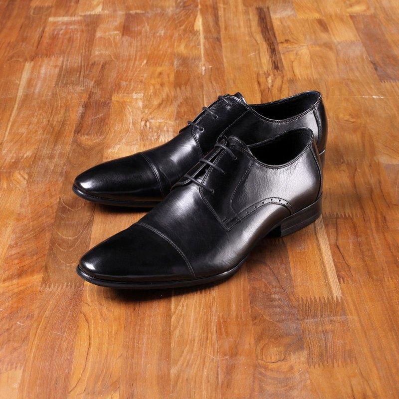 Vanger 優雅美型‧雅緻極簡仕男皮鞋 Va90黑