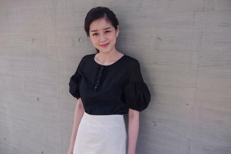 Jess蓬蓬袖垂肩襯衫式上衣