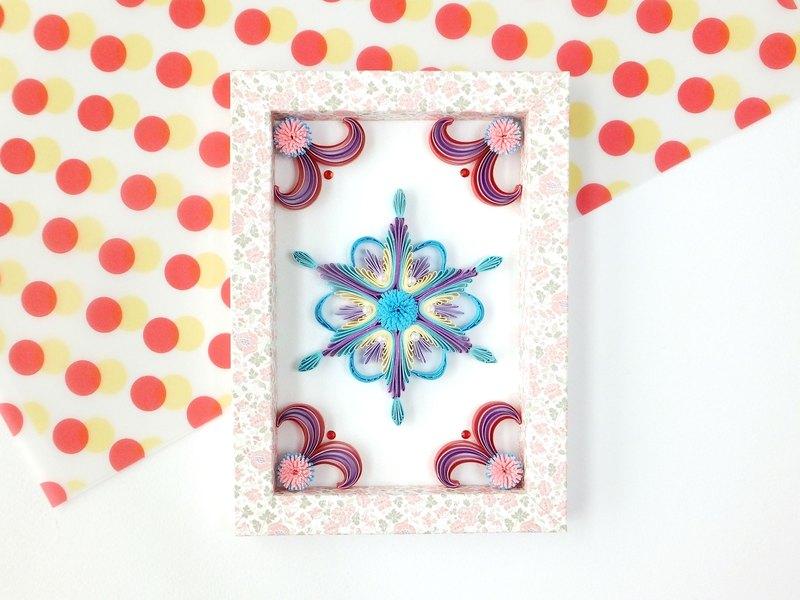手作捲紙裝飾相框-雪之戀 雪花擺飾 藍紫系