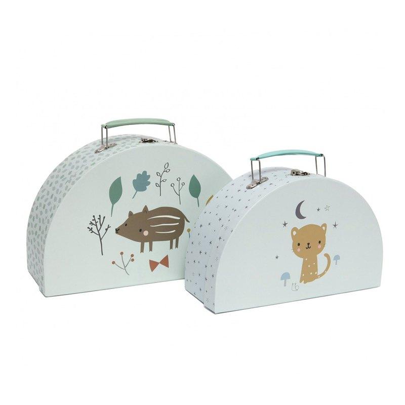 荷蘭Petit Monkey 小野豬與可愛豹玩具收納手提箱(2入)