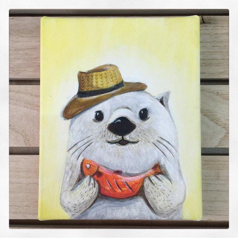 小畫框原畫『 海獺先生 』的心意|動物的日常系列|