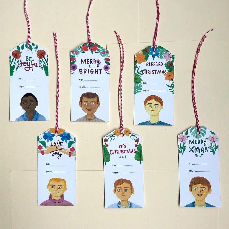 男孩肖像聖誕禮物標籤,頭部禮物標籤,聖誕禮物標籤