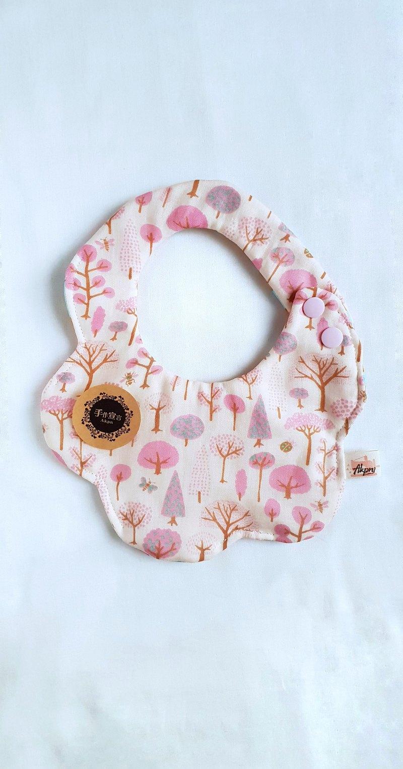 森林小樹-粉色-八層紗100%cotton雙面隨性圓弧造型圍兜.口水巾