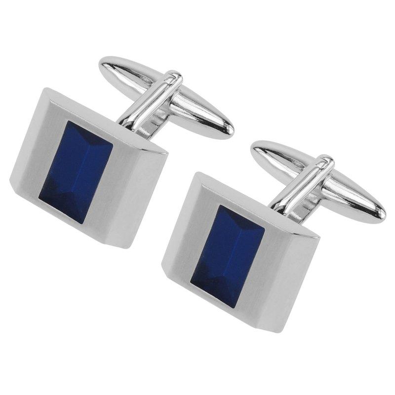 透明藍色琺瑯拉絲袖扣