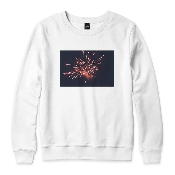 Fireworks  - 白 - 中性版大學T