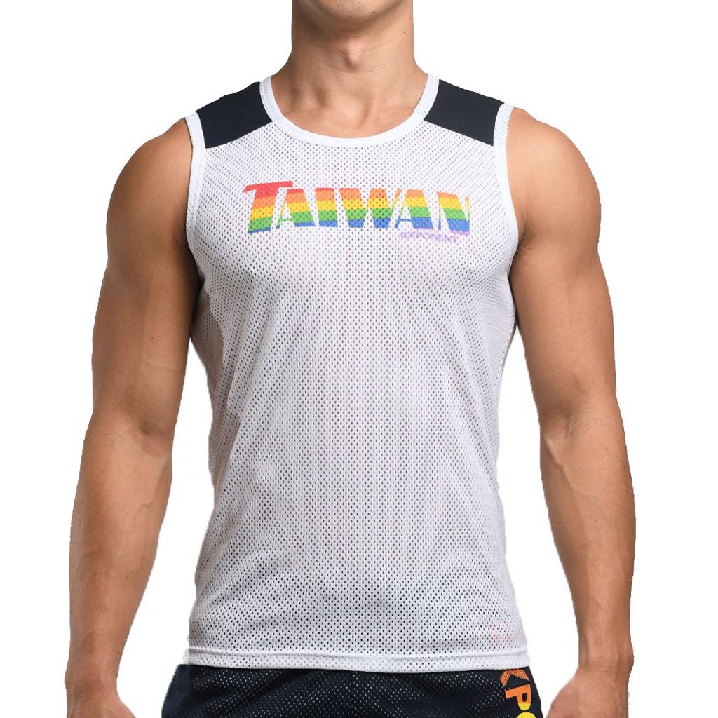 eXPONENT 【彩虹限定】男 TAIWAN 吸濕排汗 無袖拼接運動背心 白色