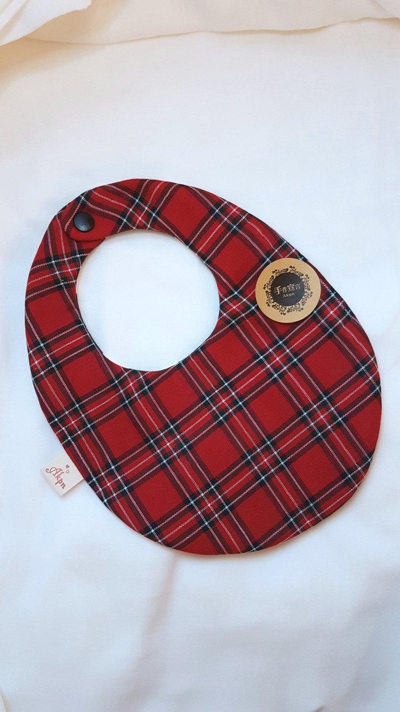 (英國風格紋/紅)八重紗100%cottonAB面蛋型圍兜