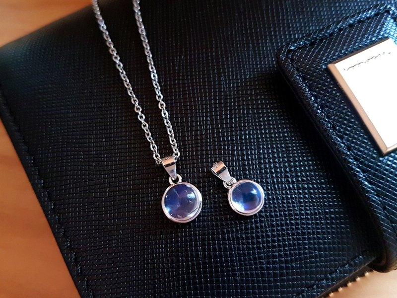 藍月光。極簡(包鑲)藍月光石項鍊 925銀鎖骨墬鍊