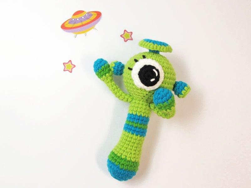 綠星人-嬰兒手搖鈴-手工限量