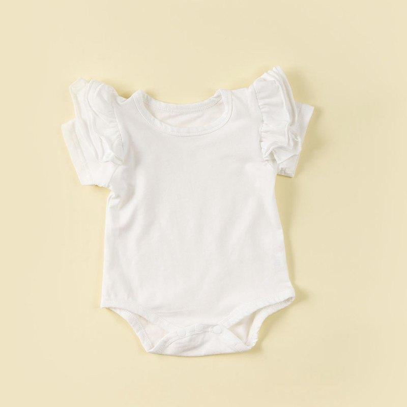 日安朵朵 荷葉邊蓬蓬袖女嬰童連身衣(多色)
