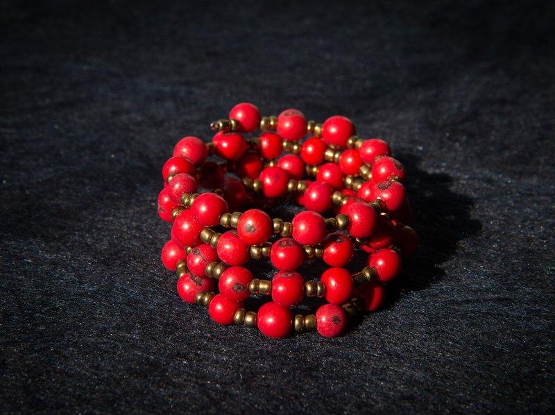 南美洲 棕櫚子手環 紅色系