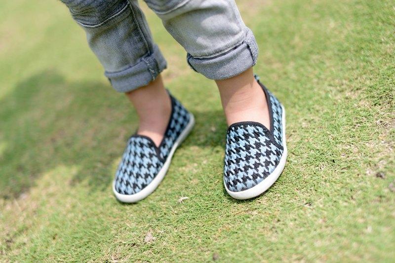 『Baby Day』經典圖騰千鳥格親子休閒鞋 /亮眼藍  童鞋 親子鞋