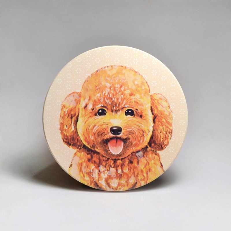 吸水陶瓷杯墊-貴賓狗 (送貼紙)(可加購客製文字)