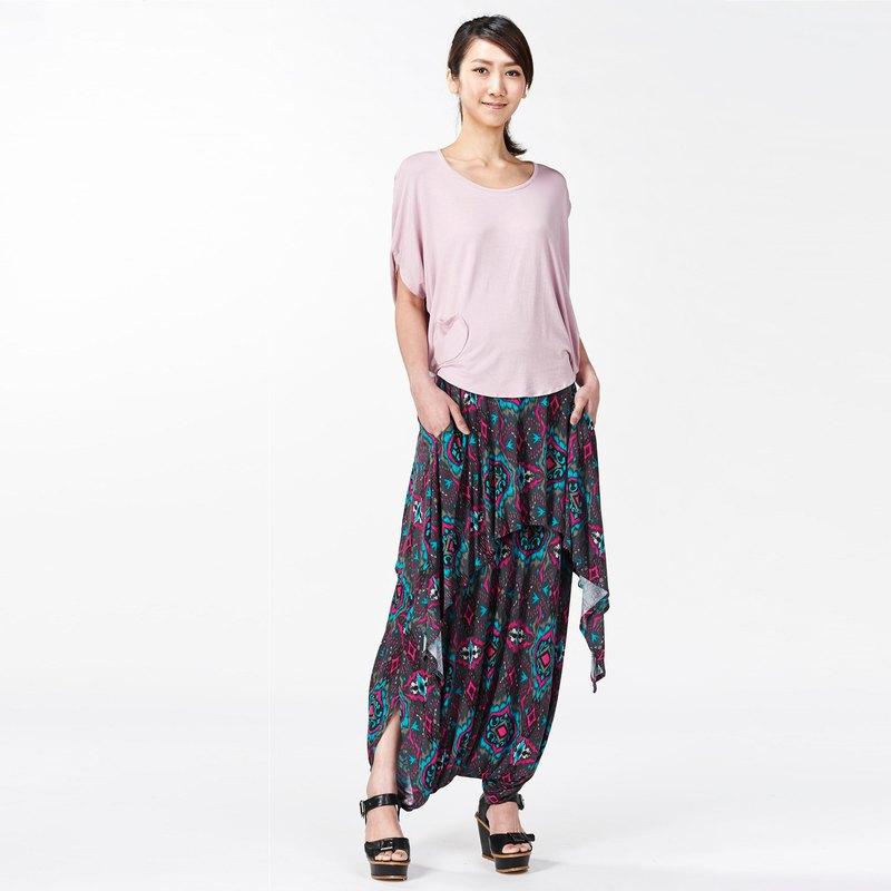 波西米亞風層次設計褲裙- 可兩穿( 連身褲/ 褲裙)