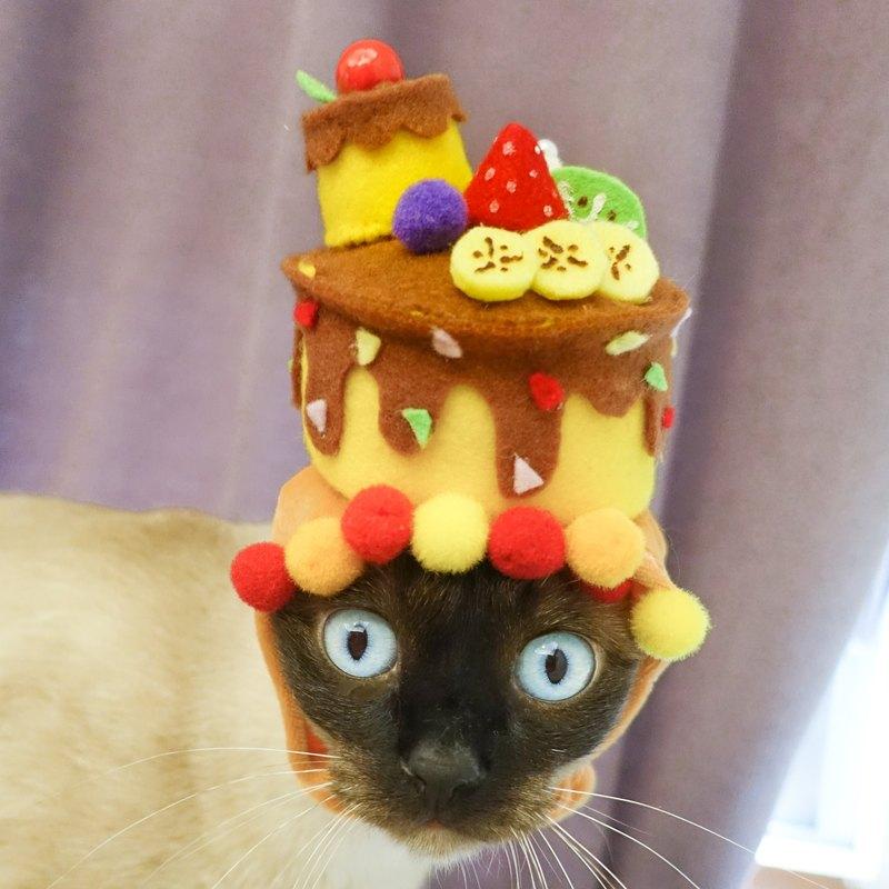 客製化生日蛋糕帽寵物貓狗帽子頭套*SS~M號
