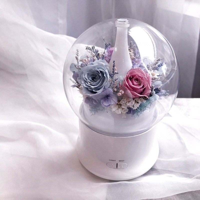 永生花薰香器(紫藍色系) 香氛 精油 夜燈 永生花 聖誕禮物