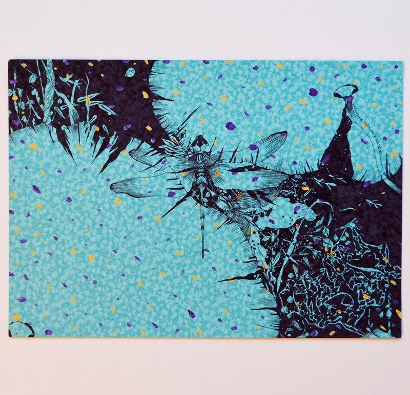 蜻蜓 昆蟲 荷葉 日式風格 手繪插畫