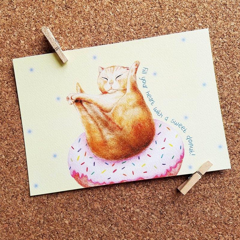 明信片- 愛吃甜甜圈的貓咪