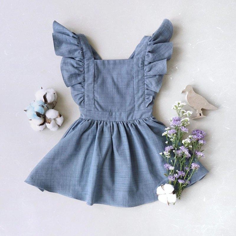 是蝴蝶女孩禮服手編織棉100%,天然染色