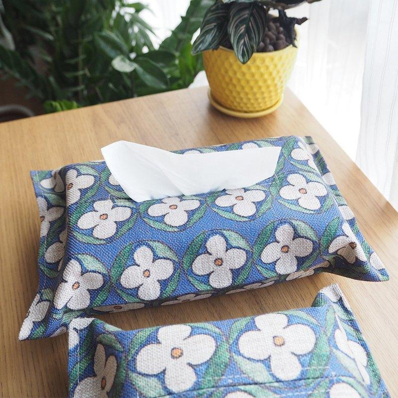 藍藍的夏復古花磚面紙盒天然亞麻印花紙巾盒