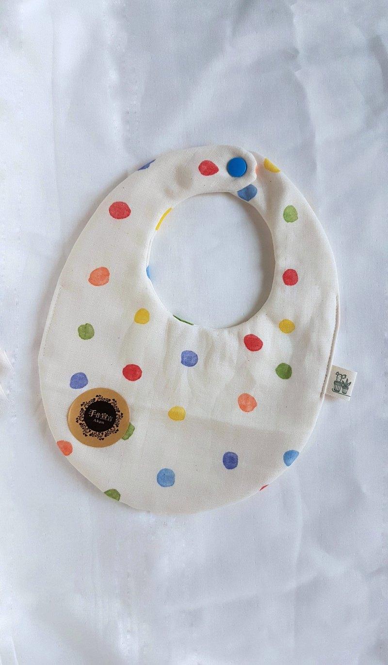 (彩水玉點點/米色底)八重紗100%cottonAB面蛋型圍兜