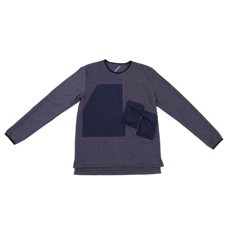 Chasm 幾何口袋針織上衣 - 藍